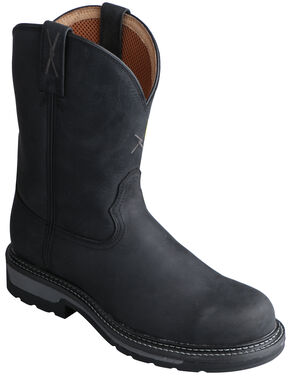 Twisted X Black Lite Cowboy Work Boots - Steel Toe , Distressed, hi-res