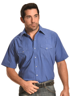 Ely Cattleman Men's Blue Short Sleeve Snap Shirt, Blue, hi-res