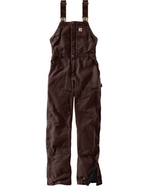 Carhartt Women's Weathered Duck Wildwood Bib Overalls , Dark Brown, hi-res