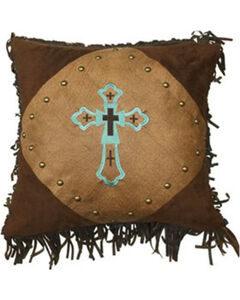 HiEnd Accents Embroidered Turquoise Cross Pillow, , hi-res