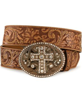 Justin Cross Buckle Tooled Leather Belt, Brown, hi-res