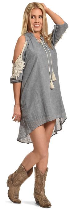 Angel Ranch Women's Blue Cold Shoulder Boho Dress , , hi-res