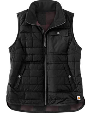Carhartt Women's Black Amoret Flannel Lined Vest , Black, hi-res