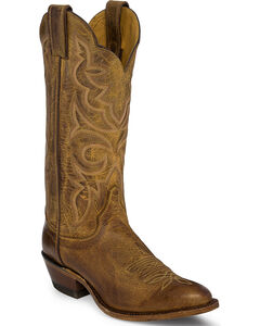 Justin Bent Rail Brown Tiger Eye Cowhide Cowgirl Boots - Round Toe , , hi-res