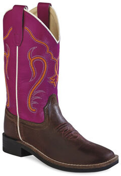 Old West Kids' Colorful Western Cowboy Boots - Square Toe, , hi-res