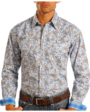 Panhandle Rough Stock Men's Tapestry Patterned Long Sleeve Shirt, Blue, hi-res