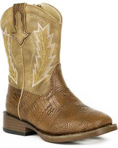Roper Toddler Boys' Charlie Embossed Caiman Cowboy Boots - Square Toe, , hi-res