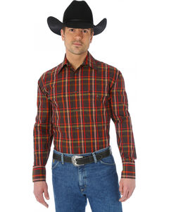 Wrangler George Strait Two Pocket Chestnut and Red Plaid Western Shirt, , hi-res