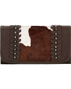 American West Women's Cow Town Chocolate Pony Hair Tri-Fold Wallet , , hi-res