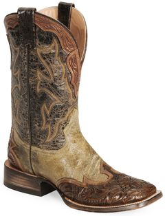 Stetson Men's Brown Tooled Wingtip Cowboy Boots - Wide Square Toe, , hi-res