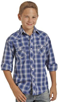 Rock & Roll Cowboy Boys' Blue Ombre Plaid Long Sleeve Shirt , , hi-res