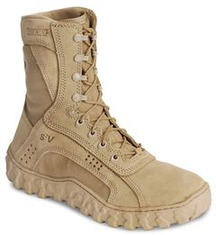 "Rocky S2V Vented 8"" Lace-Up Military Boots - Round Toe, Brown, hi-res"