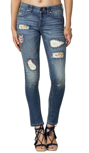 Miss Me Women's Indigo Distressed Jeans - Skinny, Indigo, hi-res