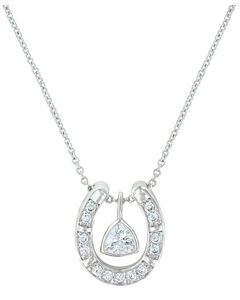 Montana Silversmiths Women's Treasured Trillion Sparkling Horseshoe Necklace , , hi-res
