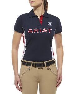 Ariat Women's Team Logo Polo, Navy, hi-res