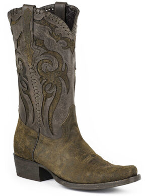 Stetson Outlaw Buck Cowboy Boots, Brown, hi-res