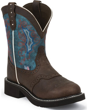 Justin Gypsy Chocolate Buffalo Cowgirl Boots - Round Toe , Chocolate, hi-res
