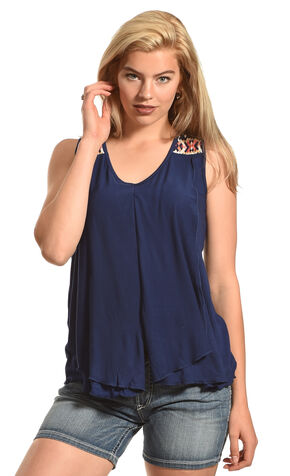 Allison Brittney Women's Sleeveless Double Layer Tank, Blue, hi-res