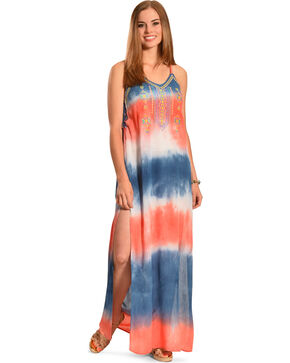 Flying Tomato Women's Tie-Dye Maxi Dress, Navy, hi-res