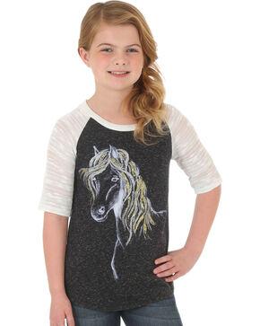 Wrangler Girls' Charcoal Glitter Mane Horse Raglan Tee , Charcoal, hi-res