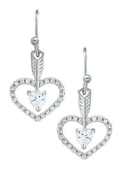 Montana Silversmiths Women's Straight to the Heart Arrow Earrings , , hi-res