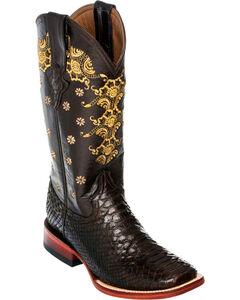 Ferrini Chocolate Python Cowgirl Boots - Square Toe, , hi-res