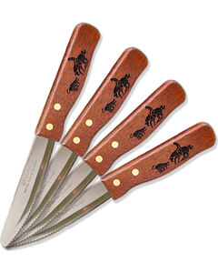 Moss Brothers Laser Engraved Cutting Horse Steak Knife 4-Piece Set  , , hi-res