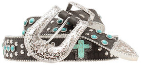 Blazin Roxx Turquoise Studded Cross Belt, Black, hi-res