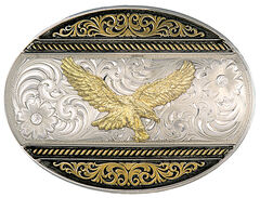 Montana Silversmiths Two Tone Golden Eagle Oval Western Buckle, , hi-res
