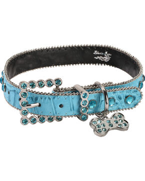 Blazin Roxx Croc Print Rhinestone Dog Collar - M/L, Turquoise, hi-res