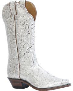 Boulet Metallic Snake Print Cowgirl Boots - Snip Toe, , hi-res