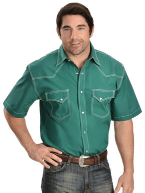 Red Ranch Green Short Sleeve Shirt, Green, hi-res