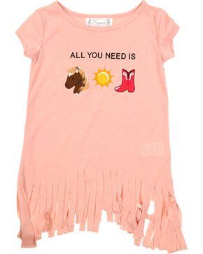 Shyanne Toddler Girls' Peach Emoji Fringe T-Shirt , Peach, hi-res