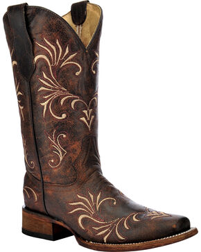 Circle G Distressed Filigree Cowgirl Boots - Square Toe, Brown, hi-res