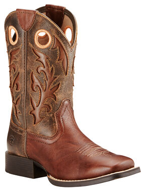 Ariat Boys' Brown Barstow Boots - Wide Square Toe, Brown, hi-res