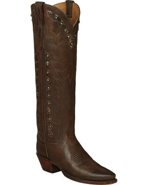 Lucchese Brown Danielle Goatskin Tall Cowgirl Boots - Pointed Toe , Dark Brown, hi-res