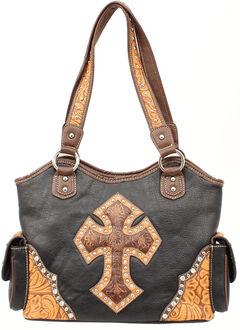 Blazin Roxx Tooled Cross Overlay Shoulder Bag, Black, hi-res