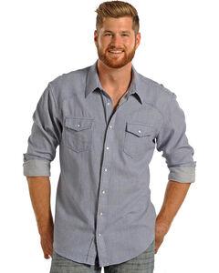 Rock & Roll Cowboy Men's Jacquard Blue Print Shirt , Blue, hi-res