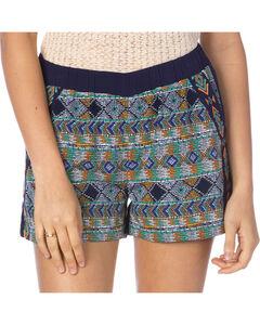 Miss Me Macrame Print Navy Shorts, , hi-res
