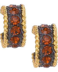 Montana Silversmiths Topaz Crystal Shine Hoop Earrings, Gold, hi-res