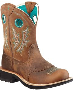 Ariat Fancy Stitched Saddle Vamp Fatbaby Boots - Round Toe, , hi-res