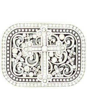Nocona Crystal Cross & Floral Scroll Buckle, Silver, hi-res