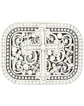 Nocona Crystal Cross & Floral Scroll Buckle, Silver, hi-res