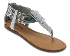 Minnetonka Ibiza Beaded Thong Sandals, Pewter, hi-res