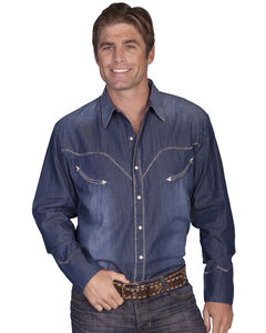 Scully Whip Stitched Denim Retro Western Shirt, , hi-res