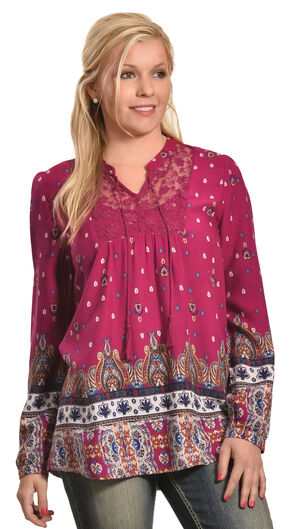 Tantrums Women's Red Berry Border Print Shirt , Dark Red, hi-res