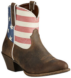 Ariat Women's Brown Old Glory Gracie American Flag Boots - Medium Toe, , hi-res