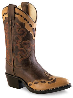 Old West Boys' Brown Fashion Overlay Western Boots - Medium Toe , , hi-res