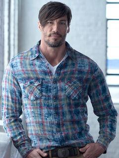 Ryan Michael Men's Indigo Cloud Plaid Shirt, , hi-res
