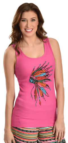 Cowgirl Justice Women's Pink Headdress Tank Top, Pink, hi-res